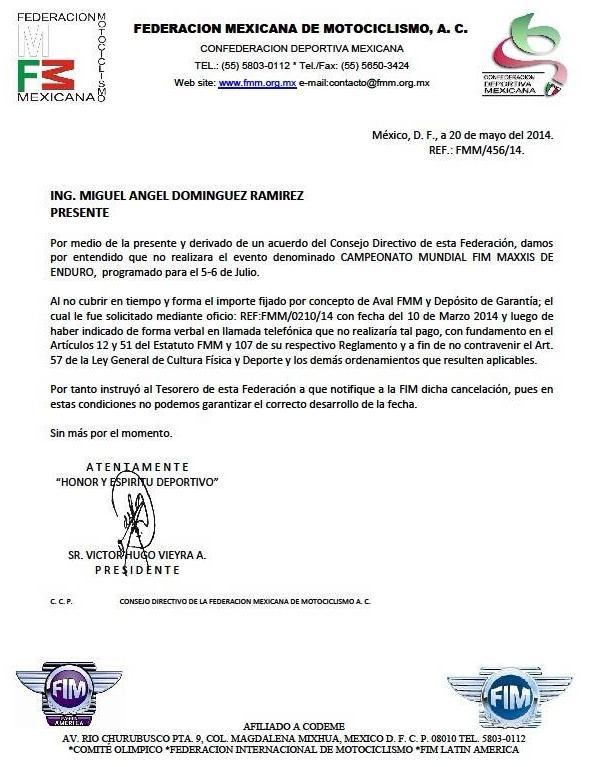Pide la FMM la Cancelación del Mundial de Enduro en Guanajuato
