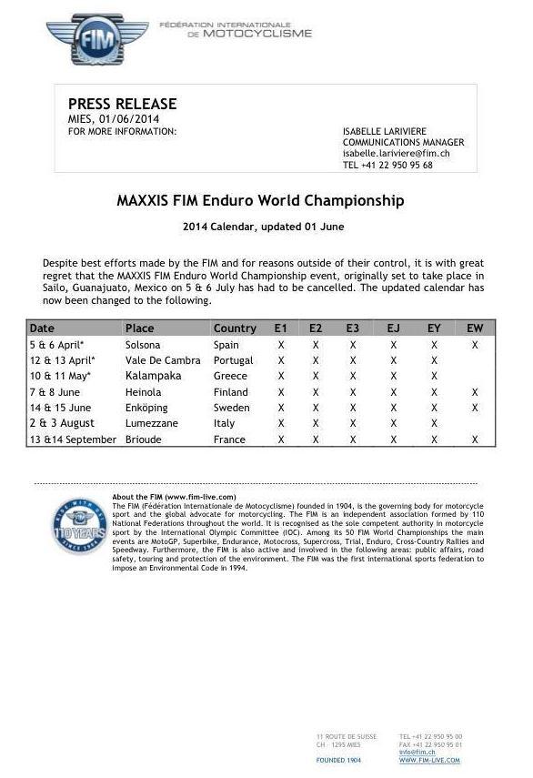 Es Oficial; Cancela la FIM el Mundial de Enduro en México