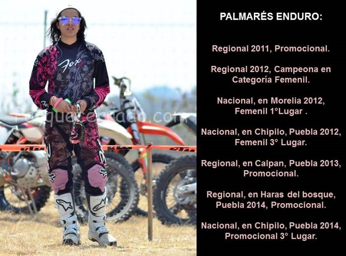 Jessica Martínez Martini domina y le apasiona el Motocross y el Enduro